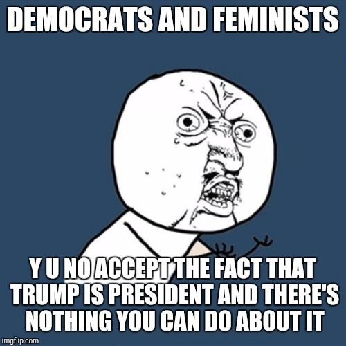 Y U No Meme | DEMOCRATS AND FEMINISTS Y U NO ACCEPT THE FACT THAT TRUMP IS PRESIDENT AND THERE'S NOTHING YOU CAN DO ABOUT IT | image tagged in memes,y u no | made w/ Imgflip meme maker
