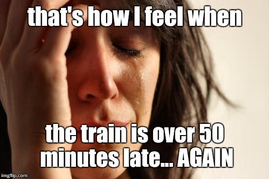 First World Problems Meme | that's how I feel when the train is over 50 minutes late... AGAIN | image tagged in memes,first world problems | made w/ Imgflip meme maker