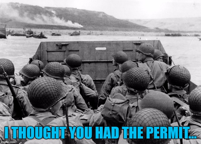 """Turn it around, lads, we don't have a permit..."" 