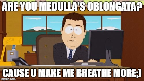 Aaaaand Its Gone Meme | ARE YOU MEDULLA'S OBLONGATA? CAUSE U MAKE ME BREATHE MORE;) | image tagged in memes,aaaaand its gone | made w/ Imgflip meme maker