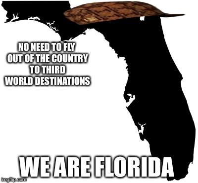 NO NEED TO FLY OUT OF THE COUNTRY TO THIRD WORLD DESTINATIONS WE ARE FLORIDA | image tagged in florida,scumbag | made w/ Imgflip meme maker