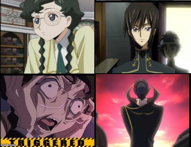 The Most easy offensive trigger in history | image tagged in anime triggered,code geass,anime,animeme | made w/ Imgflip meme maker