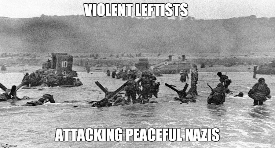 Violent leftists | VIOLENT LEFTISTS ATTACKING PEACEFUL NAZIS | image tagged in politics | made w/ Imgflip meme maker