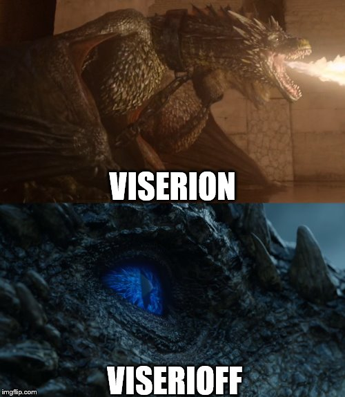 Viserion | VISERION VISERIOFF | image tagged in game of thrones | made w/ Imgflip meme maker