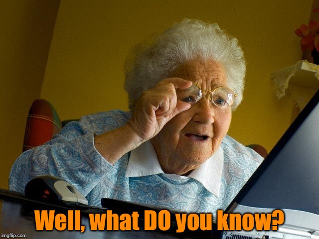Grandma Finds The Internet Meme | Well, what DO you know? | image tagged in memes,grandma finds the internet | made w/ Imgflip meme maker