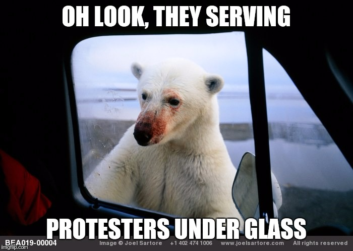 OH LOOK, THEY SERVING PROTESTERS UNDER GLASS | made w/ Imgflip meme maker