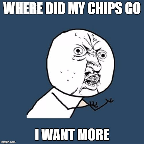 Y U No Meme | WHERE DID MY CHIPS GO I WANT MORE | image tagged in memes,y u no | made w/ Imgflip meme maker