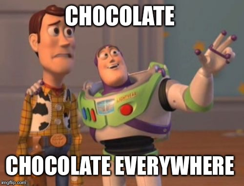 CHOCOLATE CHOCOLATE EVERYWHERE | image tagged in memes,x x everywhere | made w/ Imgflip meme maker