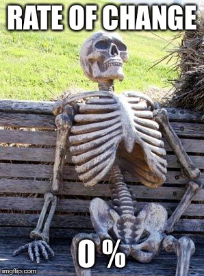Waiting Skeleton Meme | RATE OF CHANGE 0 % | image tagged in memes,waiting skeleton | made w/ Imgflip meme maker