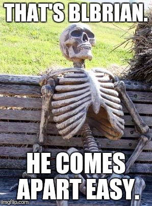 Waiting Skeleton Meme | THAT'S BLBRIAN. HE COMES APART EASY. | image tagged in memes,waiting skeleton | made w/ Imgflip meme maker