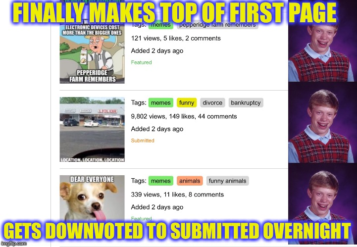 Dear Imgflip Mods There Should be a Special Points Bonus for This | FINALLY MAKES TOP OF FIRST PAGE GETS DOWNVOTED TO SUBMITTED OVERNIGHT | image tagged in memes,imgflip,imgflip users,downvote fairy,bad luck brian,imgflip mods | made w/ Imgflip meme maker