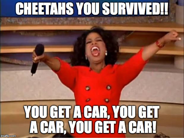 Oprah You Get A | CHEETAHS YOU SURVIVED!! YOU GET A CAR, YOU GET A CAR, YOU GET A CAR! | image tagged in memes,oprah you get a | made w/ Imgflip meme maker