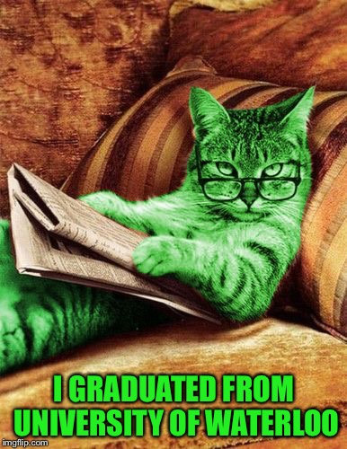 Factual RayCat | I GRADUATED FROM UNIVERSITY OF WATERLOO | image tagged in factual raycat | made w/ Imgflip meme maker