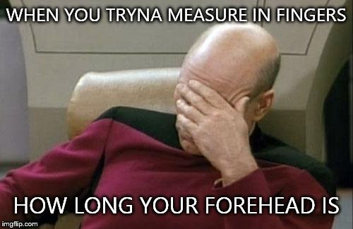 Captain Picard Facepalm Meme | WHEN YOU TRYNA MEASURE IN FINGERS HOW LONG YOUR FOREHEAD IS | image tagged in memes,captain picard facepalm | made w/ Imgflip meme maker