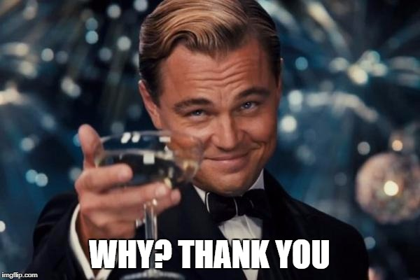 Leonardo Dicaprio Cheers Meme | WHY? THANK YOU | image tagged in memes,leonardo dicaprio cheers | made w/ Imgflip meme maker