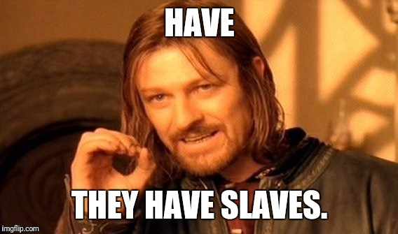 One Does Not Simply Meme | HAVE THEY HAVE SLAVES. | image tagged in memes,one does not simply | made w/ Imgflip meme maker