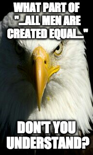 "All Men are Created Equal | WHAT PART OF ""...ALL MEN ARE CREATED EQUAL..."" DON'T YOU UNDERSTAND? 