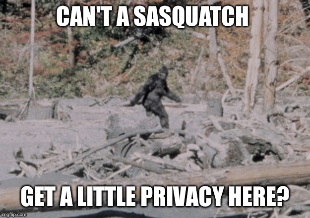 CAN'T A SASQUATCH GET A LITTLE PRIVACY HERE? | made w/ Imgflip meme maker