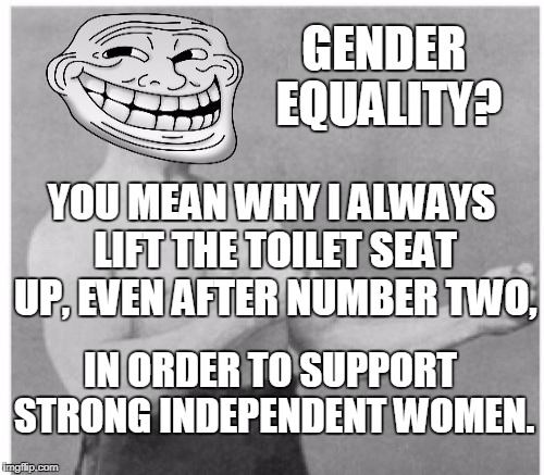 Overly Trolly Troll  | GENDER EQUALITY? IN ORDER TO SUPPORT STRONG INDEPENDENT WOMEN. YOU MEAN WHY I ALWAYS LIFT THE TOILET SEAT UP, EVEN AFTER NUMBER TWO, | image tagged in overly trolly troll,gender equality,strong women | made w/ Imgflip meme maker