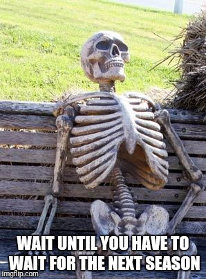 Waiting Skeleton Meme | WAIT UNTIL YOU HAVE TO WAIT FOR THE NEXT SEASON | image tagged in memes,waiting skeleton | made w/ Imgflip meme maker