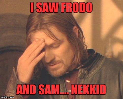 Frustrated Boromir Meme | I SAW FRODO AND SAM.... NEKKID | image tagged in memes,frustrated boromir | made w/ Imgflip meme maker
