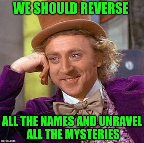 Creepy Condescending Wonka Meme | WE SHOULD REVERSE ALL THE NAMES AND UNRAVEL ALL THE MYSTERIES | image tagged in memes,creepy condescending wonka | made w/ Imgflip meme maker
