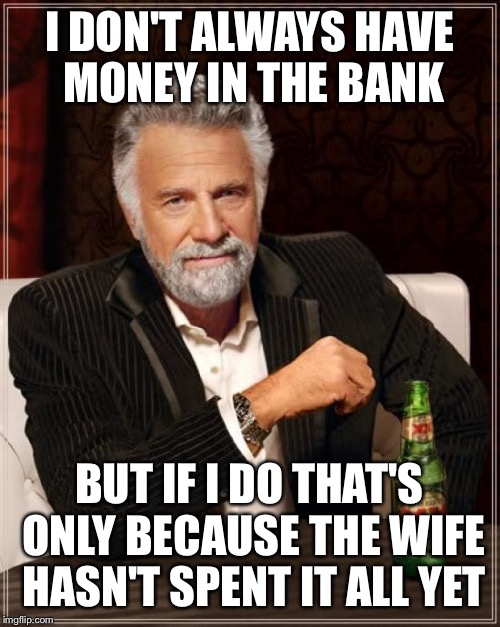 The Most Interesting Man In The World Meme | I DON'T ALWAYS HAVE MONEY IN THE BANK BUT IF I DO THAT'S ONLY BECAUSE THE WIFE HASN'T SPENT IT ALL YET | image tagged in memes,the most interesting man in the world | made w/ Imgflip meme maker