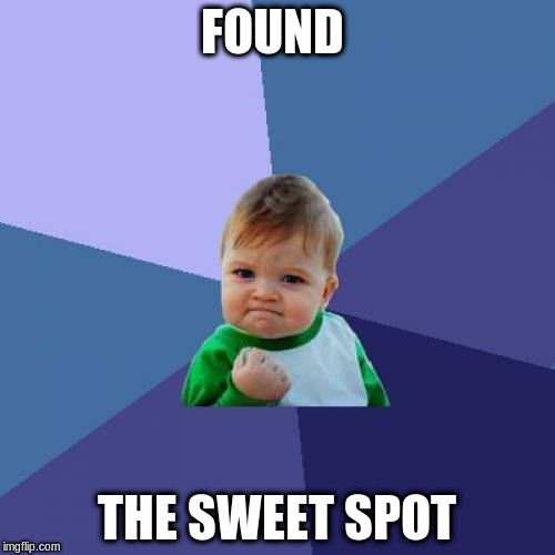 Success Kid Meme | FOUND THE SWEET SPOT | image tagged in memes,success kid | made w/ Imgflip meme maker