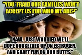 """YOU 'FRAID OUR FAMILIES WON'T ACCEPT US FOR WHO WE ARE?"" ""NAW.  JUST WORRIED WE'LL DOPE OURSELVES UP ON ESTROGEN, AND GRAFT FUR ON OUR BUTT 