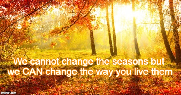 Change of seasons in life | We cannot change the seasons but we CAN change the way you live them | image tagged in seasons | made w/ Imgflip meme maker
