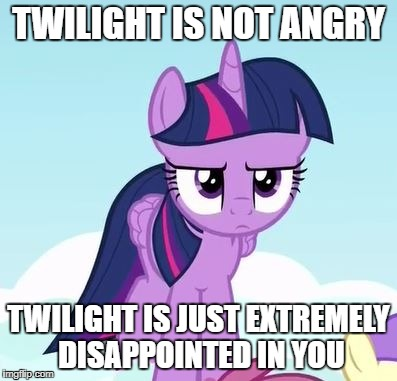 Not Angry Just Disappoint | TWILIGHT IS NOT ANGRY TWILIGHT IS JUST EXTREMELY DISAPPOINTED IN YOU | image tagged in mlp,twilight,pony,not angry,just disappointed | made w/ Imgflip meme maker
