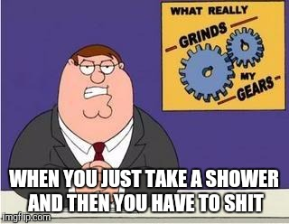 You know what grinds my gears | WHEN YOU JUST TAKE A SHOWER AND THEN YOU HAVE TO SHIT | image tagged in you know what grinds my gears | made w/ Imgflip meme maker