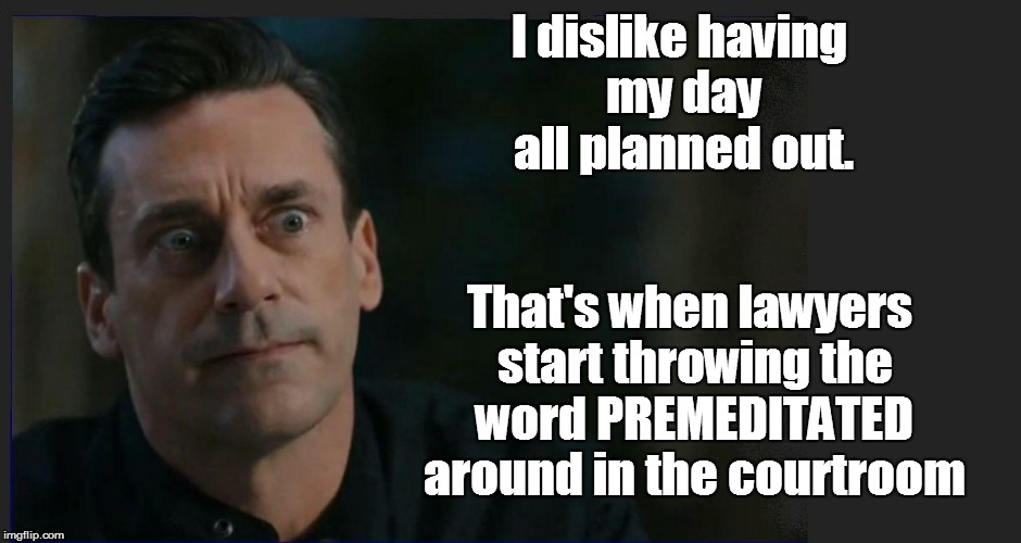 LIFE | I dislike having my day all planned out. That's when lawyers start throwing the word PREMEDITATED around in the courtroom | image tagged in funny | made w/ Imgflip meme maker