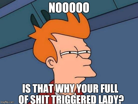 Futurama Fry Meme | NOOOOO IS THAT WHY YOUR FULL OF SHIT TRIGGERED LADY? | image tagged in memes,futurama fry | made w/ Imgflip meme maker