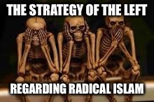 politically correct | THE STRATEGY OF THE LEFT REGARDING RADICAL ISLAM | image tagged in hear no evil,democrats,radical islam,memes | made w/ Imgflip meme maker