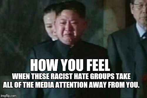 So sad | HOW YOU FEEL WHEN THESE RACIST HATE GROUPS TAKE ALL OF THE MEDIA ATTENTION AWAY FROM YOU. | image tagged in memes,kim jong un sad | made w/ Imgflip meme maker