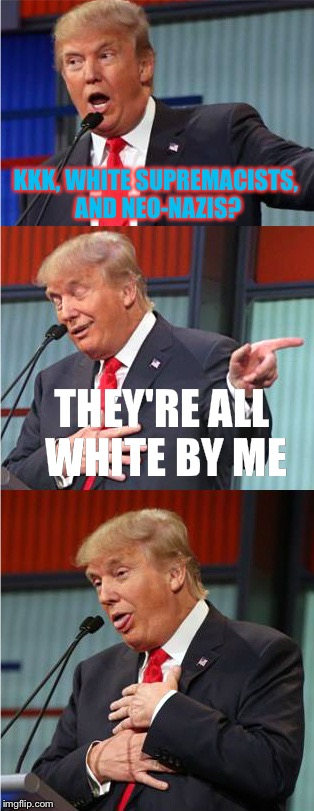 Bad Pun Trump | KKK, WHITE SUPREMACISTS, AND NEO-NAZIS? THEY'RE ALL WHITE BY ME | image tagged in bad pun trump,memes,donald trump,charlottesville | made w/ Imgflip meme maker