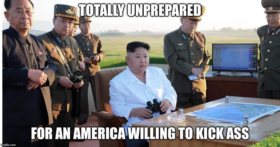 Serious Kim | TOTALLY UNPREPARED FOR AN AMERICA WILLING TO KICK ASS | image tagged in serious kim | made w/ Imgflip meme maker