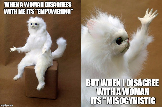 "Persian Cat Room Guardian | WHEN A WOMAN DISAGREES WITH ME ITS ""EMPOWERING"" BUT WHEN I DISAGREE WITH A WOMAN ITS ""MISOGYNISTIC 