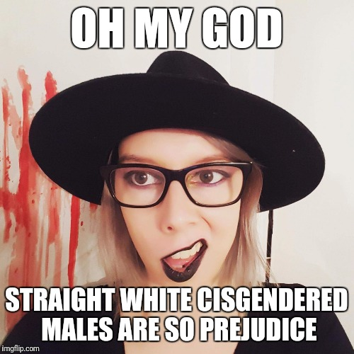 The Irony | OH MY GOD STRAIGHT WHITE CISGENDERED MALES ARE SO PREJUDICE | image tagged in tumblerina,memes | made w/ Imgflip meme maker