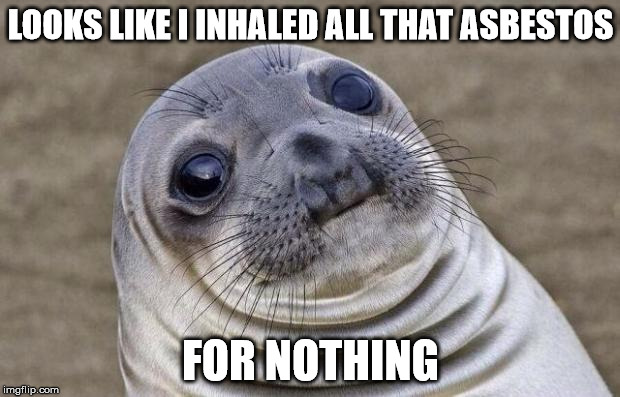 Awkward Moment Sealion Meme | LOOKS LIKE I INHALED ALL THAT ASBESTOS FOR NOTHING | image tagged in memes,awkward moment sealion | made w/ Imgflip meme maker