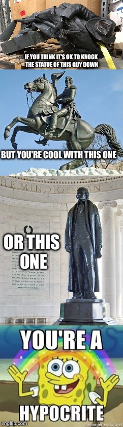Read a history book | IF YOU THINK IT'S OK TO KNOCK THE STATUE OF THIS GUY DOWN BUT YOU'RE COOL WITH THIS ONE OR THIS ONE | image tagged in confederacy,andrew jackson,thomas jefferson | made w/ Imgflip meme maker