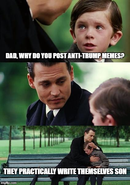 Finding Neverland Meme | DAD, WHY DO YOU POST ANTI-TRUMP MEMES? THEY PRACTICALLY WRITE THEMSELVES SON | image tagged in memes,finding neverland | made w/ Imgflip meme maker