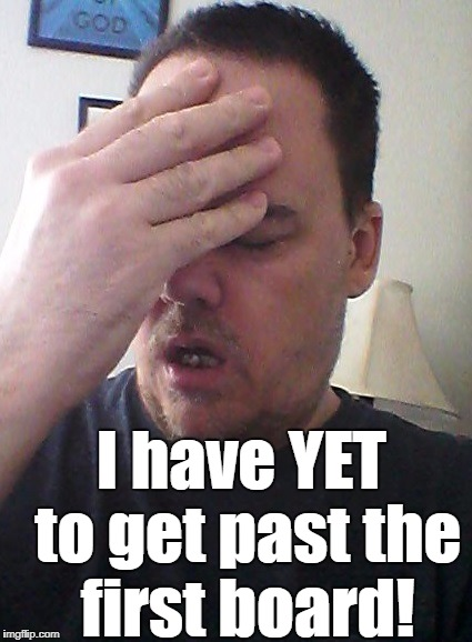 face palm | I have YET to get past the first board! | image tagged in face palm | made w/ Imgflip meme maker