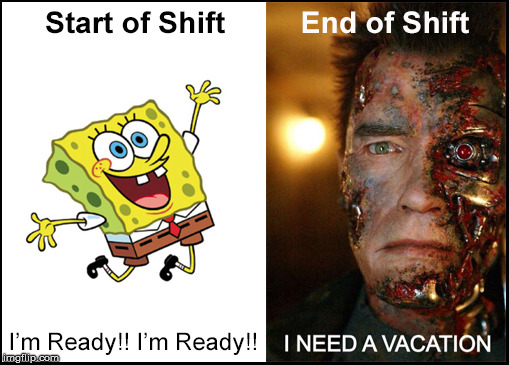 I'm Ready for a Vacation! | image tagged in i'm ready,vacation,spongebob,terminator,t2,end of shift | made w/ Imgflip meme maker