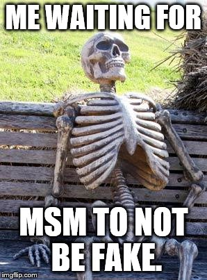 Waiting Skeleton Meme | ME WAITING FOR MSM TO NOT BE FAKE. | image tagged in memes,waiting skeleton | made w/ Imgflip meme maker
