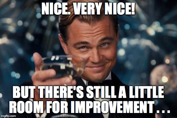 Leonardo Dicaprio Cheers Meme | NICE. VERY NICE! BUT THERE'S STILL A LITTLE ROOM FOR IMPROVEMENT . . . | image tagged in memes,leonardo dicaprio cheers | made w/ Imgflip meme maker