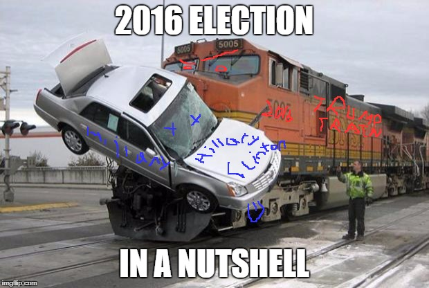 2016 election in a nutshell | 2016 ELECTION IN A NUTSHELL | image tagged in disaster train | made w/ Imgflip meme maker