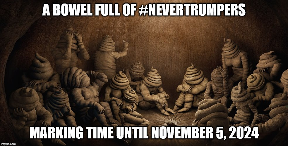 A BOWEL FULL OF #NEVERTRUMPERS MARKING TIME UNTIL NOVEMBER 5, 2024 | image tagged in nevertrumpers-desperate turds | made w/ Imgflip meme maker