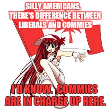 SILLY AMERICANS.   THERE'S DIFFERENCE BETWEEN LIBERALS AND COMMIES I'D KNOW.  COMMIES ARE IN CHARGE UP HERE. | made w/ Imgflip meme maker